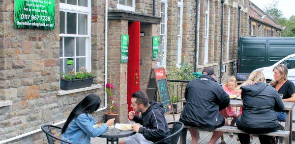 image outside about the white elephant cafe